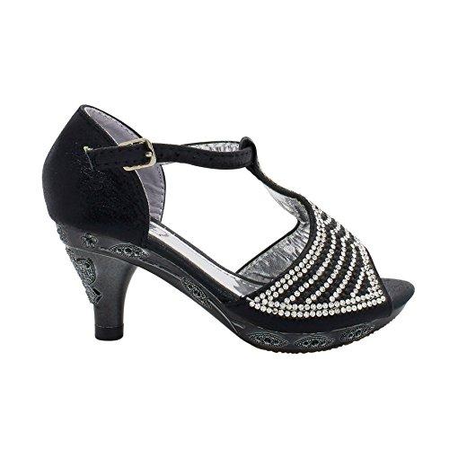 London Footwear ,  Mädchen T-Bar Schwarz