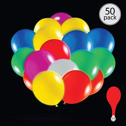 (50 pack mix color LED light up 7 color flashing round balloons. Premium latex. Lights 12-24 hours. Glow in the dark. Great supplies decorations for wedding, birthday parties, dance party.)