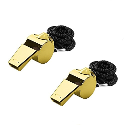 Giveet Metal Whistle with Lanyard, Stainless Steel and Durable, Extra loud Referee Coach Whistles for Football, Basketball, Soccer, School, Lifeguard Emergency, Pack of 2 PCS (Gold)