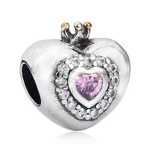 (Qiaose Pink Zircon Princess Crown 925 Sterling Silver Beads Charm Heart Charm for Women Bracelet)