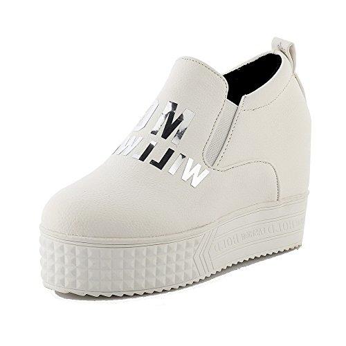 AgooLar Damen Rund Zehe Hoher Absatz Mattglasbirne Rein Ziehen auf Pumps Schuhe Weiß