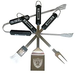 NFL Oakland Raiders 4-Piece Barbecue Set...