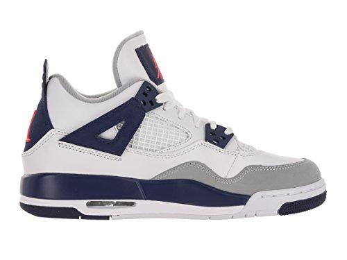 Jordan Nike Kinder Air 4 Retro GG Basketballschuh Weiß / Hypr Orng / Dp Ryl Bl / Wlf