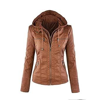 Alician Women PU Jacket Long Sleeve Zipper Leather Hooded Coat Outwear