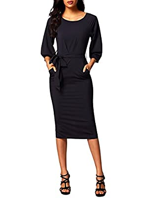 Bulawoo Women's Round Neck Puff Sleeve Belted Pencil Dress With Pockets