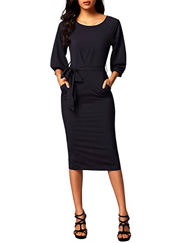 Bulawoo Women's Round Neck Puff Sleeve Belted Pencil Dress With Pockets XL Size Black (Pencil Detail Dress)