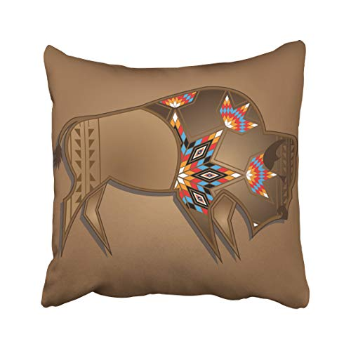 Emvency Decorative Throw Pillow Case Cushion Cover Animal Buffalo with Native American Design Bull Cow Head Horn Indian Nature Skull 20x20 Inch Cases Square Pillowcases Covers Two Sides ()