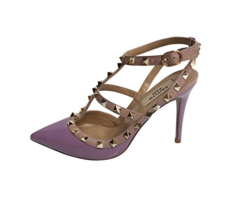 Kaitlyn Pan Pointed Toe Studded Slingback High Heel Leather Pumps Purple Patent/Nude Trim/Gold Studs outlet store cheap price shop for outlet finishline extremely ZQhma