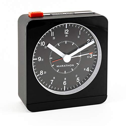 Marathon Silent Non-Ticking Alarm Clock with Warm Amber Auto Back Light and Repeating Snooze. Color-Black. SKU-CL030053BK