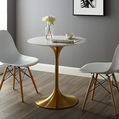 "Modway EEI-3213-GLD-WHI Lippa 28"" Round Dining Table, Gold Base"