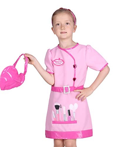 Familus Beautician Costume Dress Up Clothes for Girls Pretend Beauty Salon 7T-8T Pink