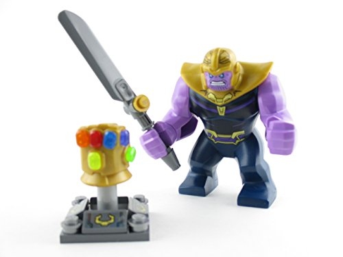 (PlayOnBricks LEGO Infinity War Thanos Minifigure with Gauntlet 6 Stones 76107 Mini Fig Avengers)