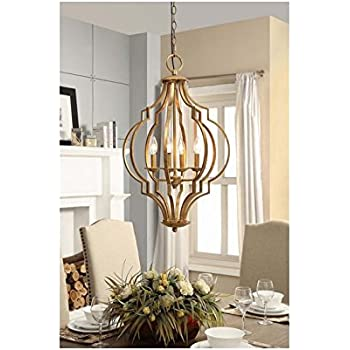 Traditional Gold Leaf Contemporary 4-light Chandelier  sc 1 st  Amazon.com & Traditional Gold Leaf Contemporary 4-light Chandelier - - Amazon.com