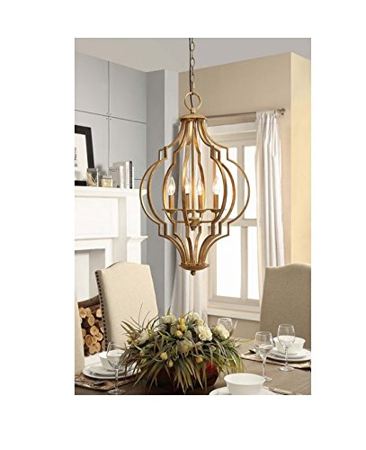 Traditional Gold Leaf Contemporary 4-light Chandelier For Sale