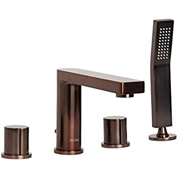 MAYKKE Friedrich Deck Mount Bathtub Faucet with Hand