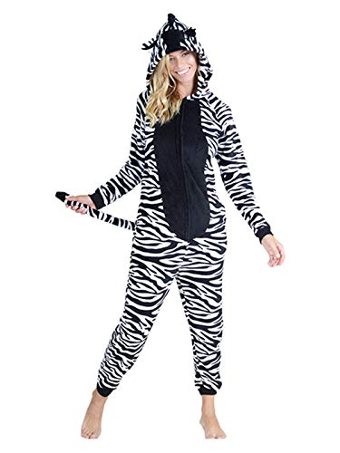 Yelete Plush Zebra Animal Adult Jumpsuit Pajama Costume, L/XL]()