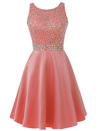 Dress Solovedress Evening Dress Coral Party Gown Short Women's Homecoming Prom Gown Satin Beaded qxqpgwz