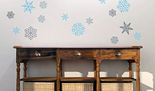 """Set of (15) 5"""" & 3"""" Snowflakes Peel & Stick Vinyl Wall Decals - Removable - Perfect for Holiday and Christmas decor on Walls, Windows, Storefronts, and in Offices in Powder Blue & Silver Metallic"""