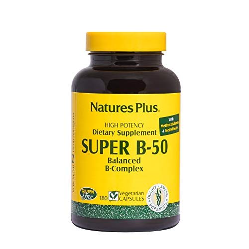 Natures Plus Super B50-180 Vegetarian Capsules - High Potency B Complex Vitamin Supplement, Brain & Energy Booster, Anxiety Reducer, Stress Reliever, Mood Enhancer - Gluten Free - 180 Servings
