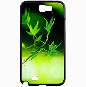 Unique Design Fashion Protective Back Cover For Samsung Galaxy Note 2 Case Green Leaves Wallpaper HD 19401 Nature Black