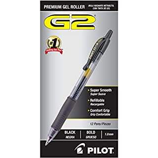 PILOT G2 Premium Refillable & Retractable Rolling Ball Gel Pens, Bold Point, Black Ink, 12 Count (31256)