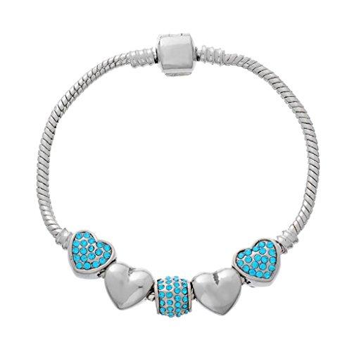 Souarts Bracelet Charm Perles Spacer Strass Forme Cœur Couleur Argent Mat Bleu 19cm