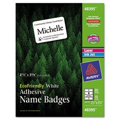 EcoFriendly Name Badge Labels, 2-1/3 x 3-3/8, White, 80/Pack, Sold as 1 Package Avery