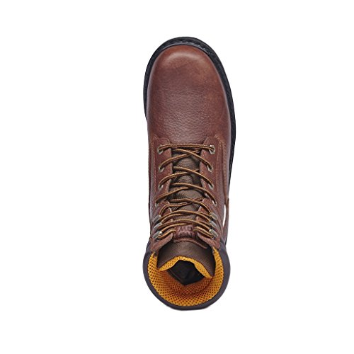 KINGSHOW Mens 1312 7 Premium Full-Grain Leather Plain Rubber Sole Soft Toe Work Boots Brown NoXOP9