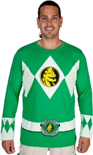 Power Rangers The Long Sleeve Ranger Costume Green T-shirt (Adult -
