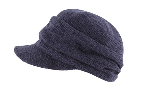 Tidecloth Women's Slightly Curved Brim Casual None Simple Beret Hat Blue One Size