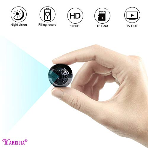 YAMEIJIA Mini Hidden Camera, Mini Car DVR Camera, Waterproof 1080P Full HD Night Vision Spy Camcorder Loop Recording Portable Nanny Cam Spy Camera for Car Home and Office Indoor/Outdoor - Microphone Waterproof Night Vision