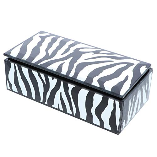 Li'Shay Reflective Zebra Print Glass Rectangle Jewelry Box-Silver (Zebra Print Glasses)