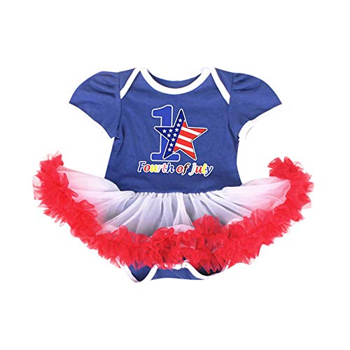Diufon 2019 New Baby Girl's American Flag Print Tulle Tutu Romper Jumpsuit Dress Kids Summer Clothes Sets (0-3 Months, Red) ()