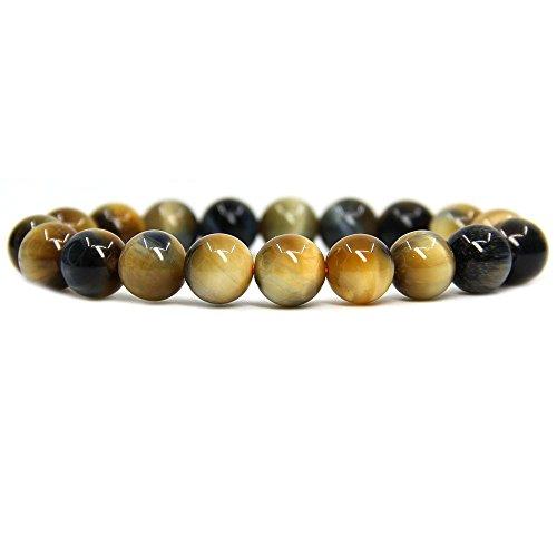 "Amandastone Natural AA Grade Golden Blue Tiger Eye Genuine Semi-Precious Gemstones Healing 10mm Beaded Stretch Bracelet 7"" Unisex"