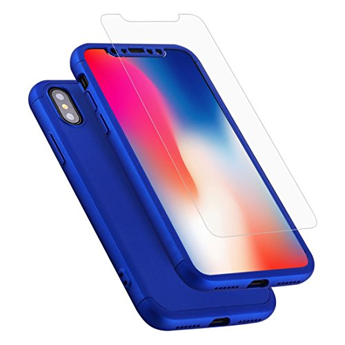 MXNET Funda para iPhone X, caja protectora de cobertura completa para tres párrafos de 360 grados con película de vidrio templado ( SKU : Ipxg6983br ) Ipxg6983l