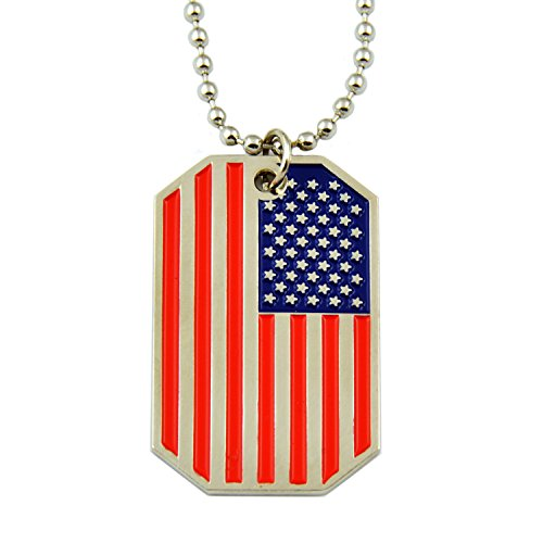 The Masonic Exchange American Flag Dog Tag Red White & Blue Necklace - 1 1/2