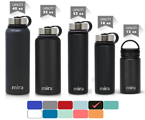 MIRA 22 Oz Stainless Steel Vacuum Insulated Wide Mouth Water Bottle with 2 Caps | Thermos Keeps Cold for 24 hours, Hot for 12 hours | Double Walled Powder Coated Travel Flask | Black