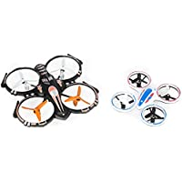 RC Stunt Drone Quadcopter w/ 360 Flip, Landing Pad Combo, Spare Parts: Crash Proof, 2.4GHz, 4 CH, 6 Axis Gyro (2 Pack)