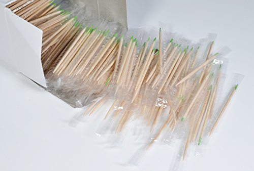 Mint Individual Birchwood Toothpicks Wrapped in Polybag Menthol Wooden Toothpick,Package of 1000