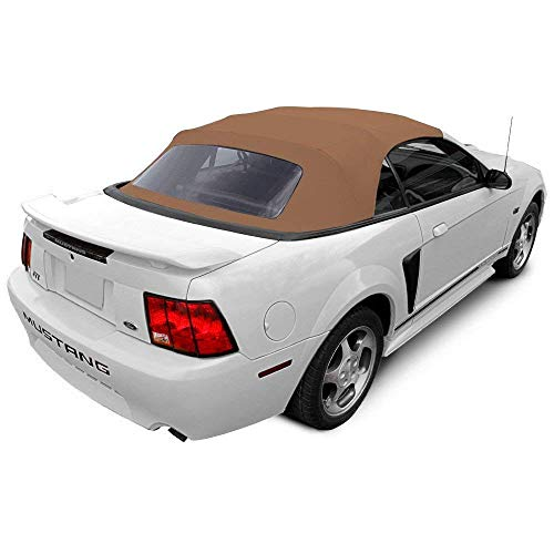 compatible with Ford Mustang 1994-2004 Convertible Soft Top & Plastic window Vinyl (1 piece easy install) (Saddle)