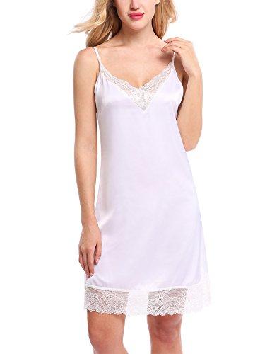 HOTOUCH Women Halter Lace Chemises Satin Sleepwear Mini Slip Dress White M ()