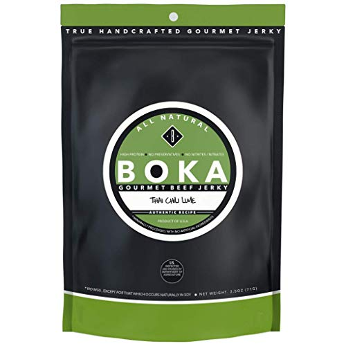 Boka Gourmet All Natural Protein Rich Beef Jerky, NO MSG, Nitrate and Nitrite-Free (Thai Chili Lime) Beef Jerky No Msg