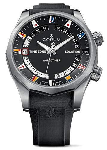 Corum Admirals Cup - Corum Men's Admiral s Cup Legend 47 Worldtimer 47mm Black Rubber Band Automatic Watch 637.101.04/F371 AN02