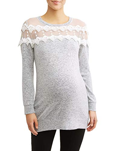 - Maternity Long Sleeve Tunic w/Lace Yoke (Medium)