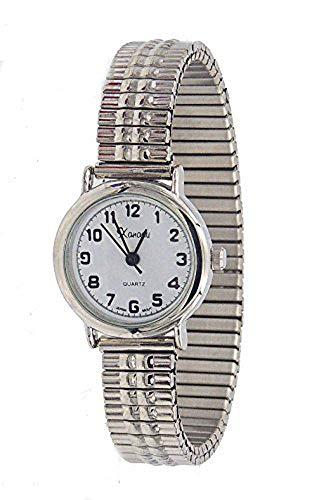 - Ladies Dainty classic Silver Tone Stretch Band Watch