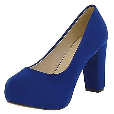 ???Watere??? Women's Round Toe Flock Work Shoes High Heel Single Casual Shoes Sandals Mid Heel Dress Platform High Heels