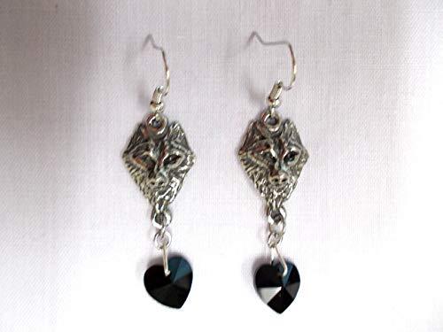 - New CAST Wildlife Raised Wolf Head Black Crystal Heart Dangling Earrings KEZ-3490