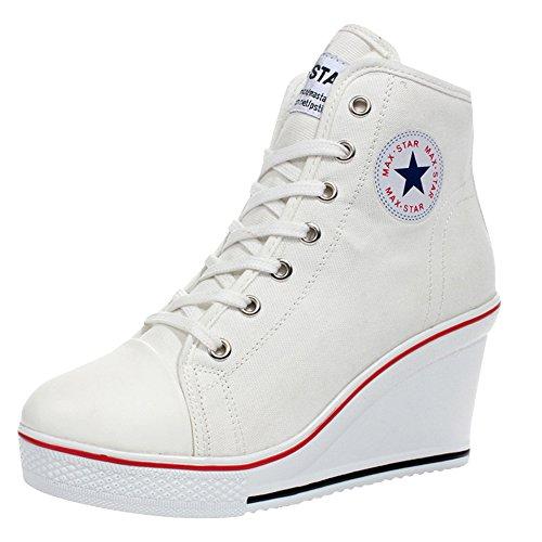 new product 7fabb 99e2d Scarpe Kivors laterale ginnastica Sneakers da alte zeppa ...