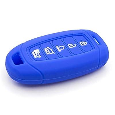 LIGHTKOREA 5 Button Silicone fob Remote Smart Key Case Protector Cover Accessories Compatible with Hyundai Palisade 2020 2021 (Blue): Automotive