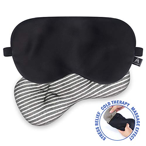 Mavogel Silk Sleep Eye Mask - Removeable Soothing Eye Pillow, Cold Therapy for Headache/Migraine Relief/Sinus Pain/Puffy Dry Eyes, Cooling Eye Mask, Compress Mask